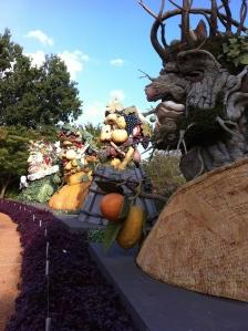 row of vegetable sculptures
